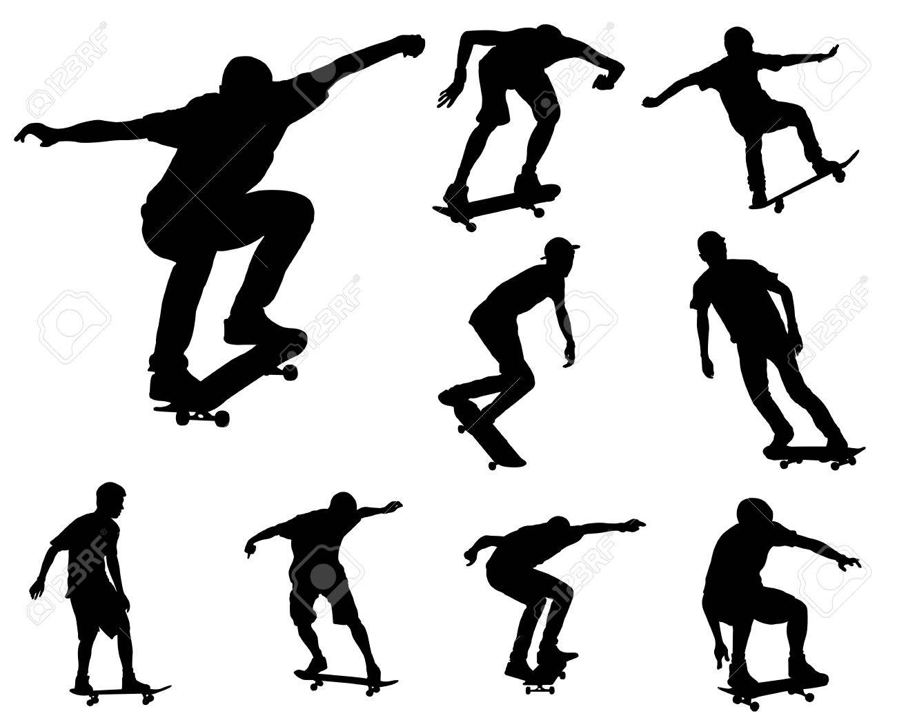 skateboarders silhouettes collection - 21967734