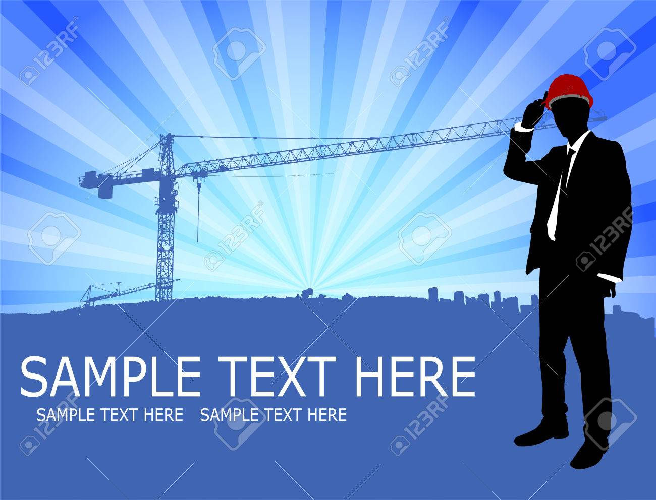 architect standing in front of abstract construction site background - 22427581