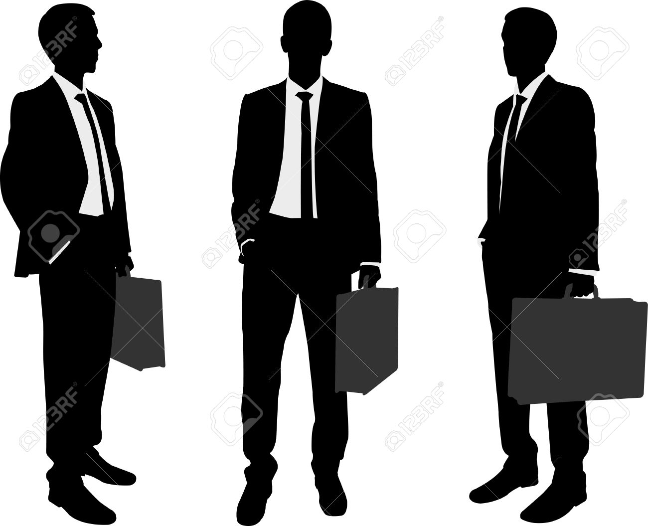 businessman holding briefcase silhouettes - 22428361