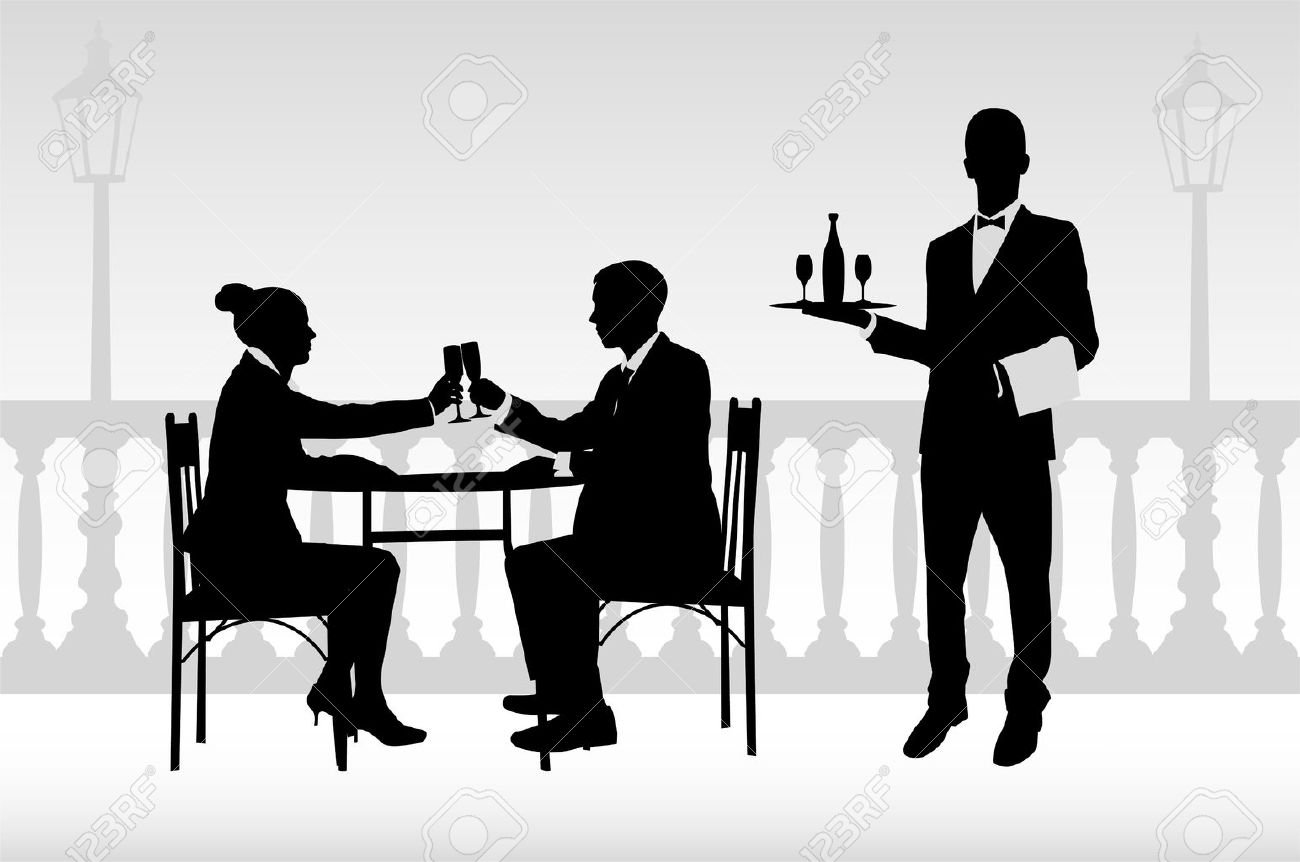 couple in the restaurant and waiter serving them- vector - 23072198