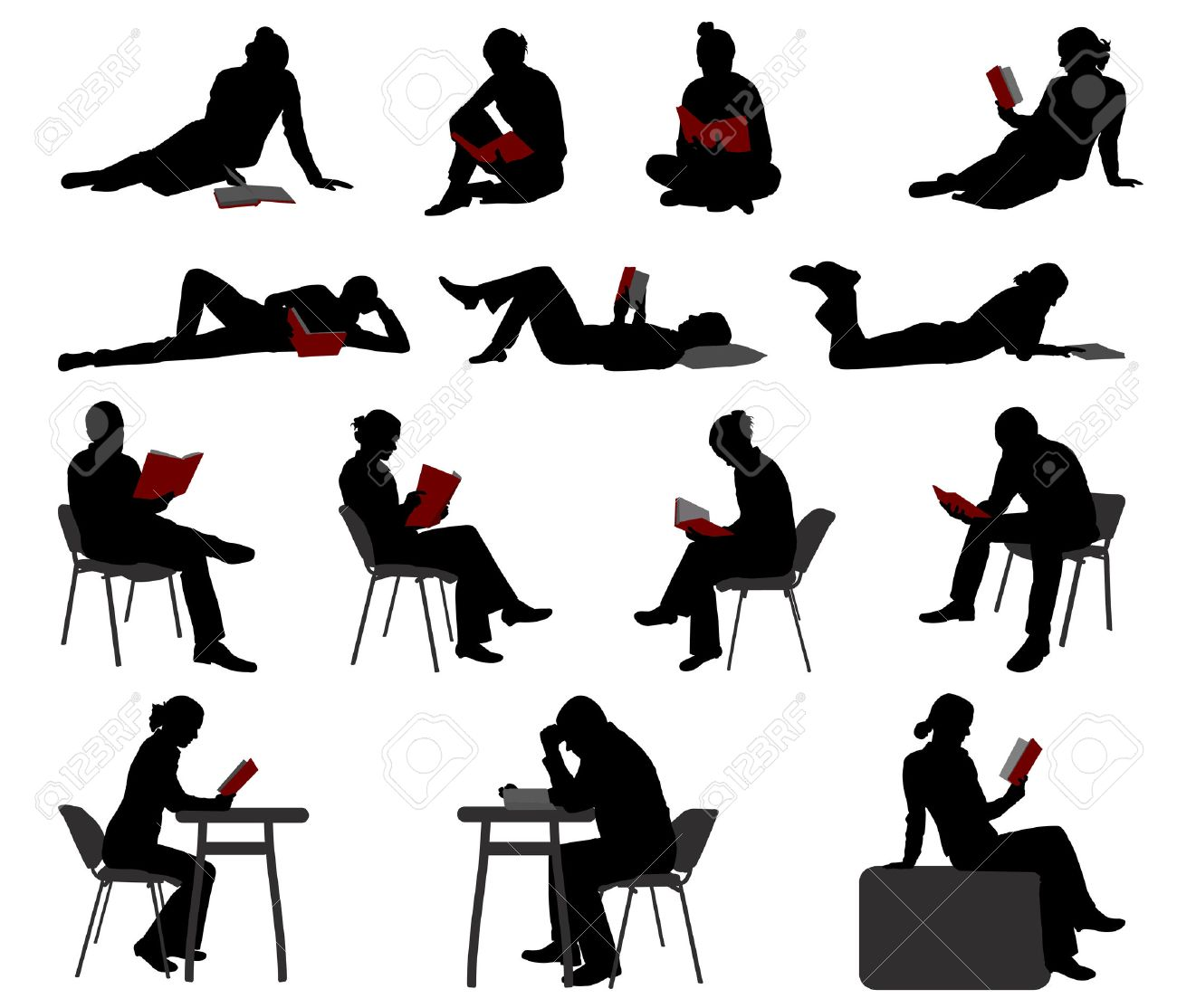 silhouettes of people reading books - vector - 23073399