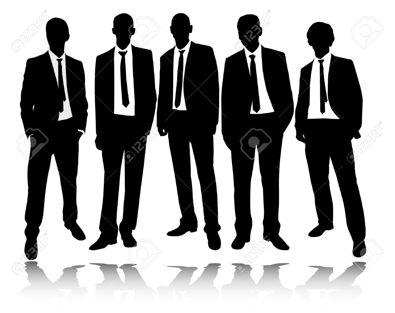 group of businessmen standing and posing - vector - 23060252
