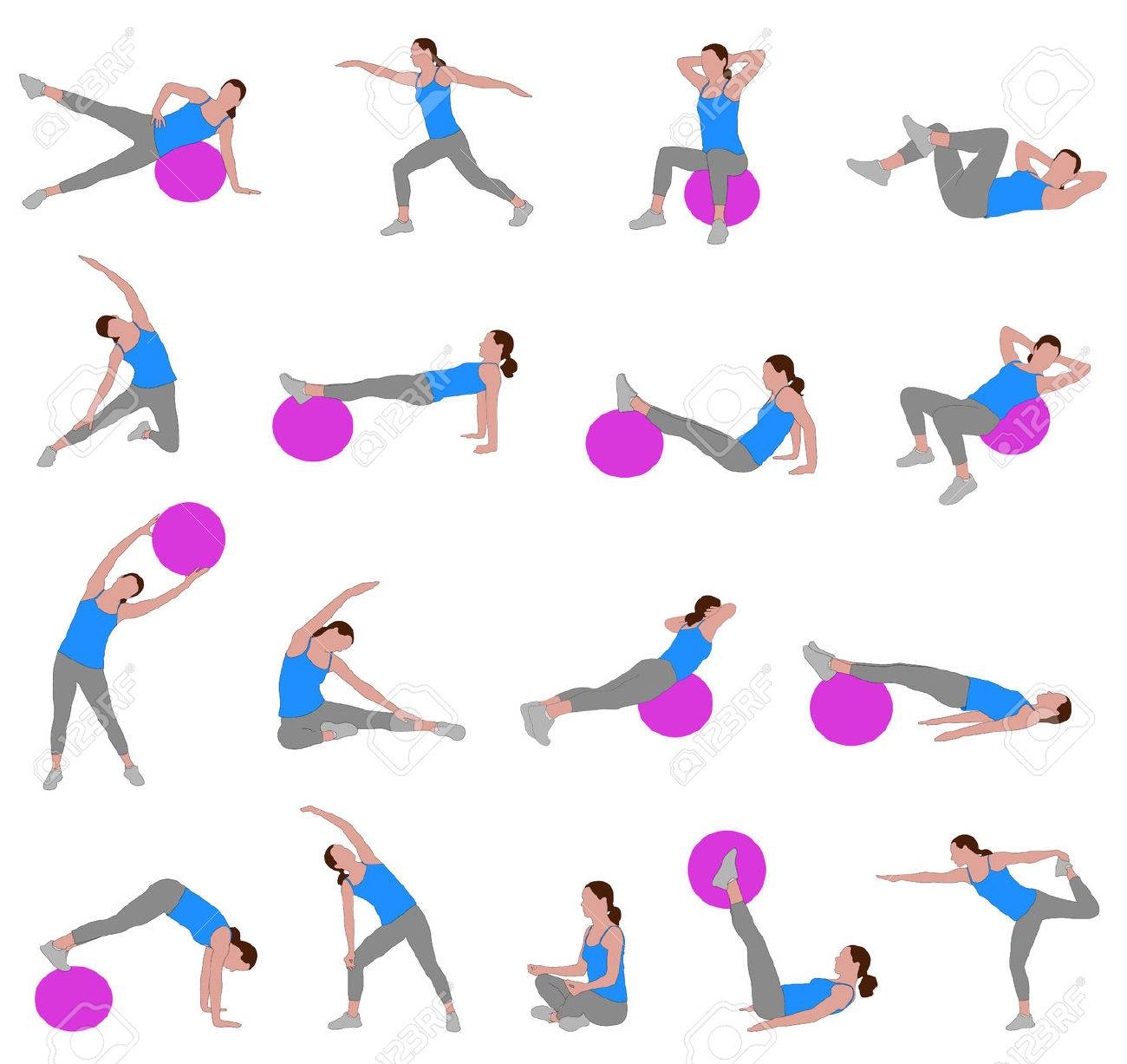 women doing pilates - vector illustration - 23075948