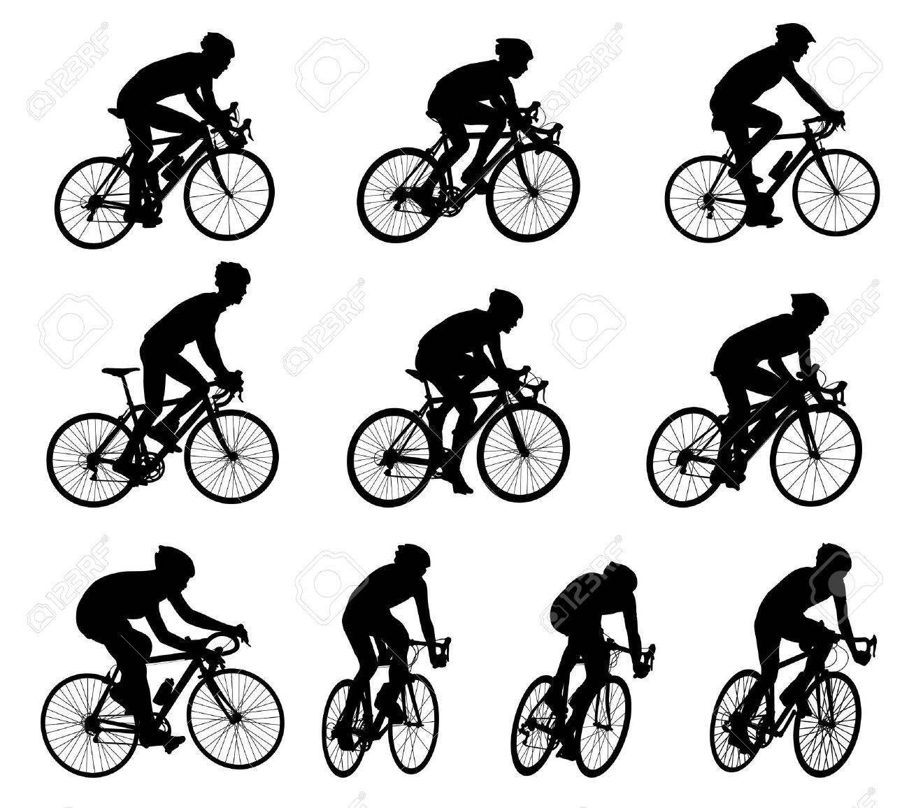 10 high quality race bicyclists silhouettes - 24161712