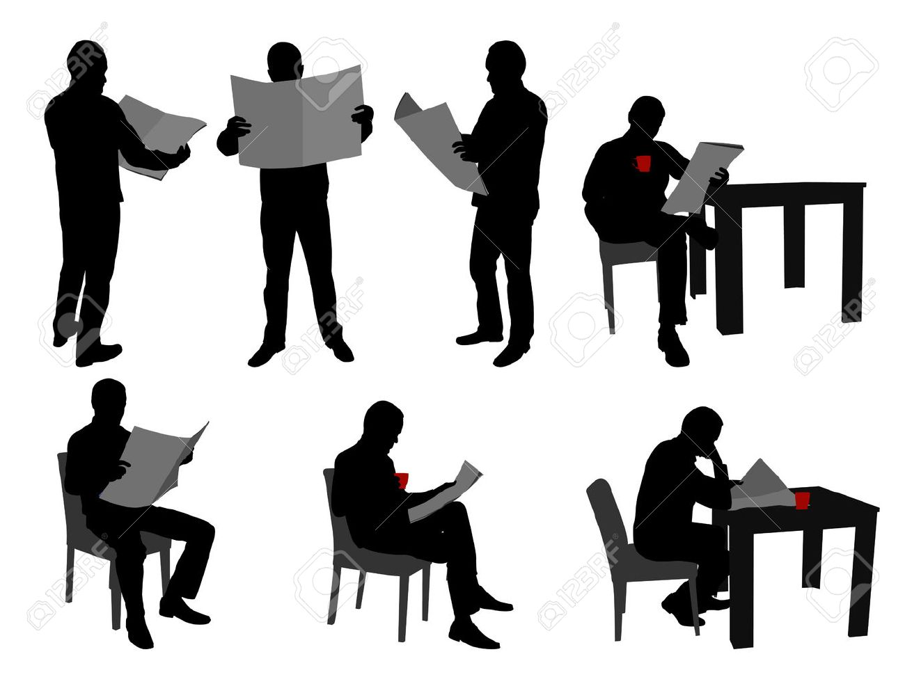 man reading newspapers silhouettes - vector - 24806613