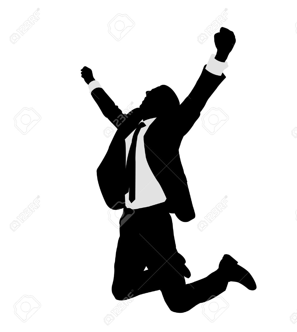 succesful bussinesman celebrating victory - vector - 25626584