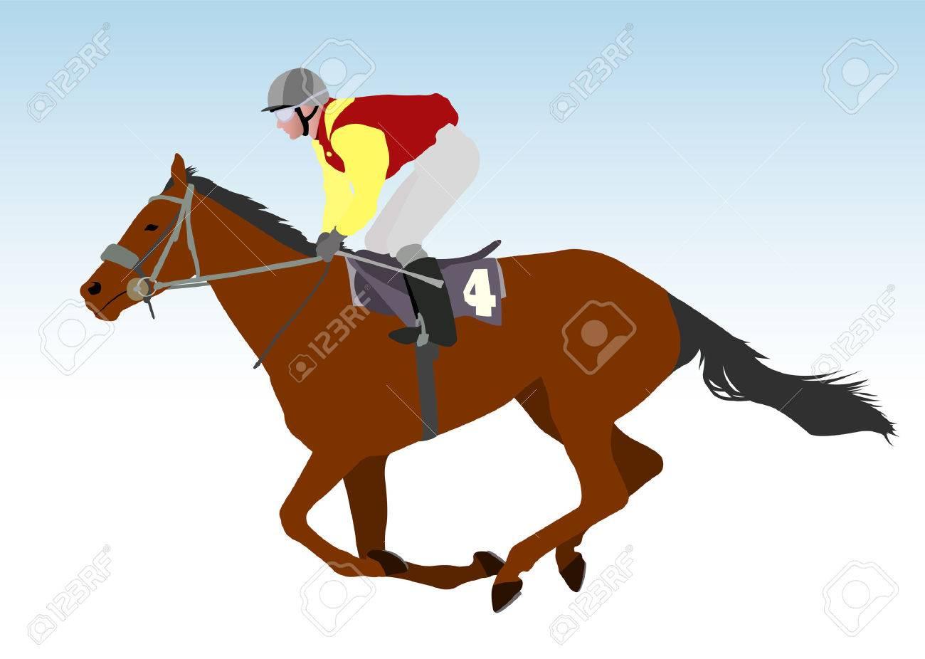 jockey riding race horse illustration - 31598941