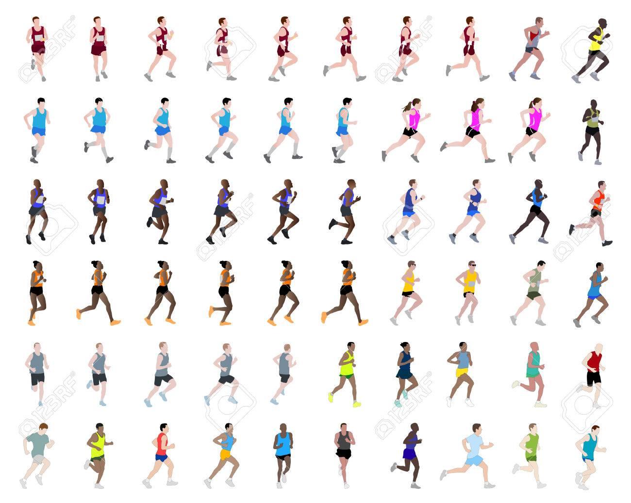 60 people running illustrations - 31677243