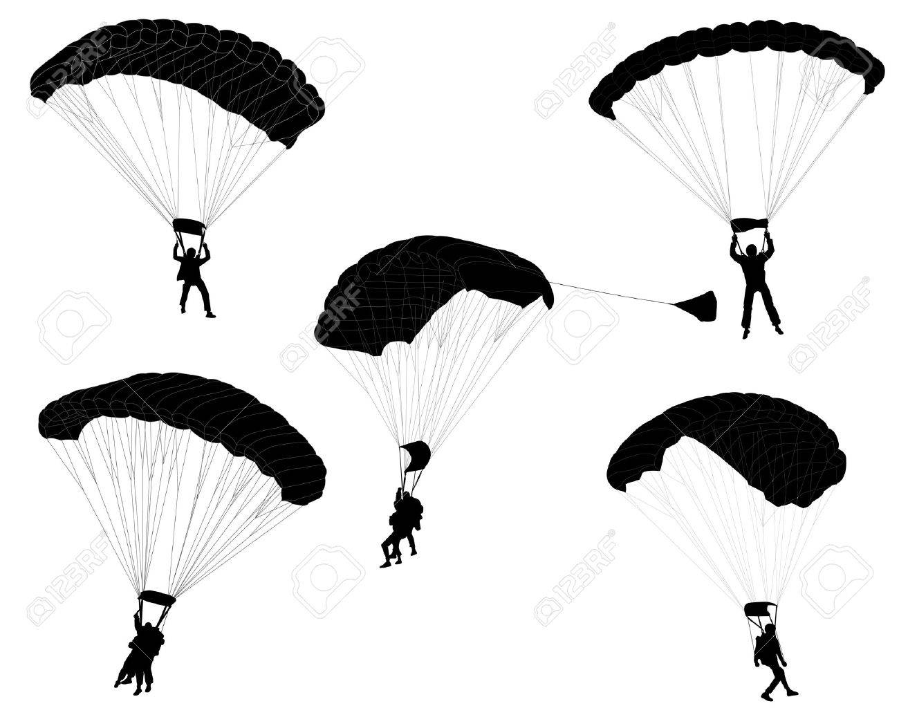 skydivers silhouettes collection - vector - 32786535