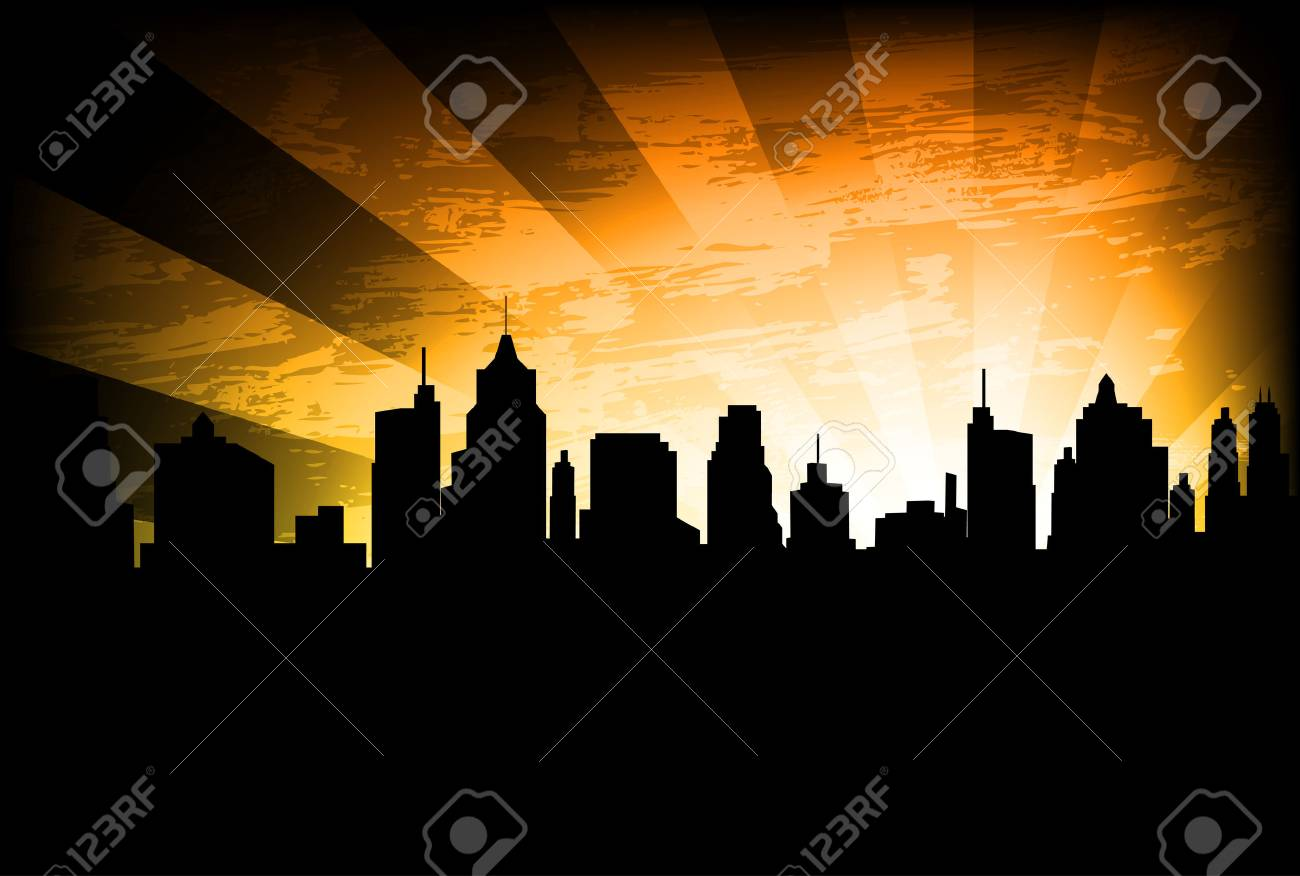 city skyline on the abstract background - 35274945