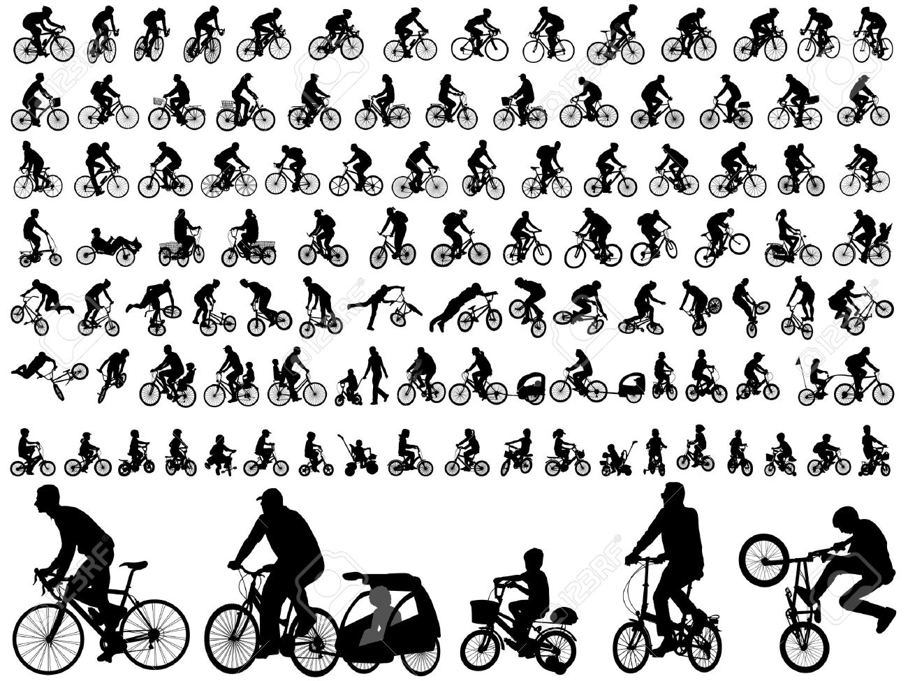 106 high quality bicyclists silhouettes - 36306564