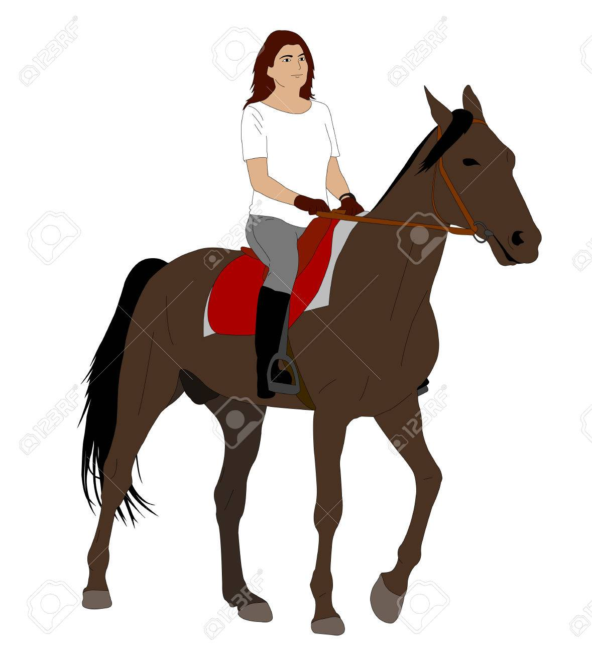 Woman Riding Horse 2 Vector Royalty Free Cliparts Vectors And Stock Illustration Image 66584260