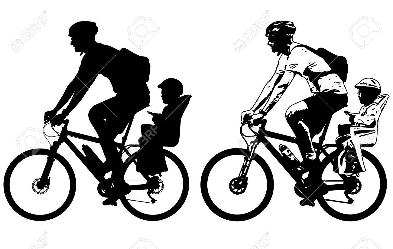 Line Art Baby : Father riding a toddler in bicycle baby seat silhouette and