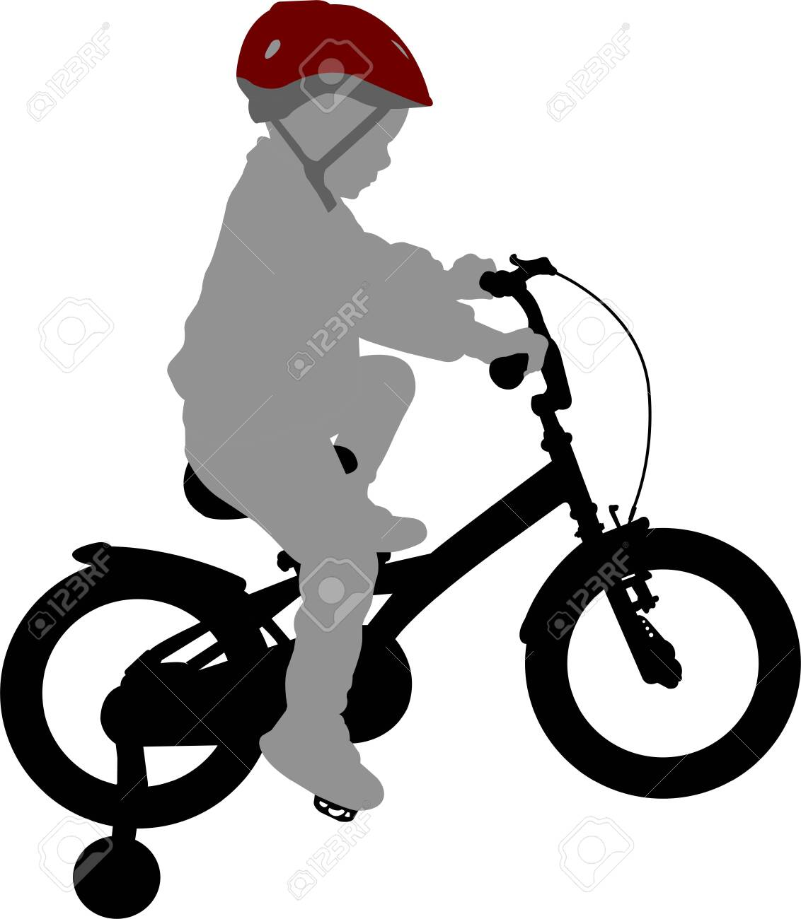 little boy riding bicycle high quality silhouette - vector - 133948894