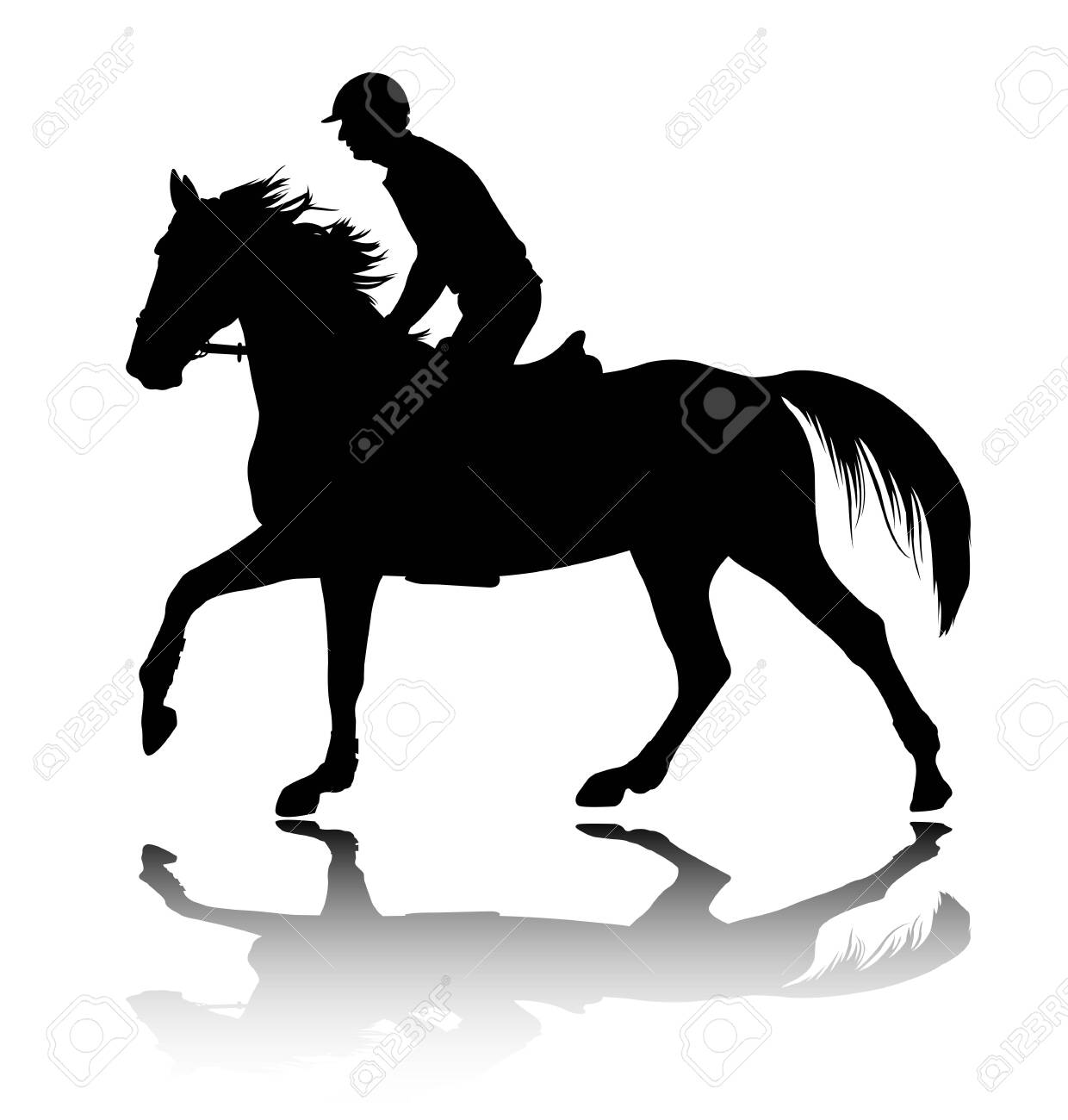High Quality Silhouette Of Young Man Riding Horse Vector Royalty Free Cliparts Vectors And Stock Illustration Image 134616871