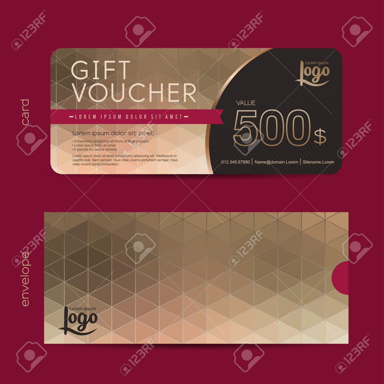Gift Voucher Template With Premium Pattern And Envelope Design