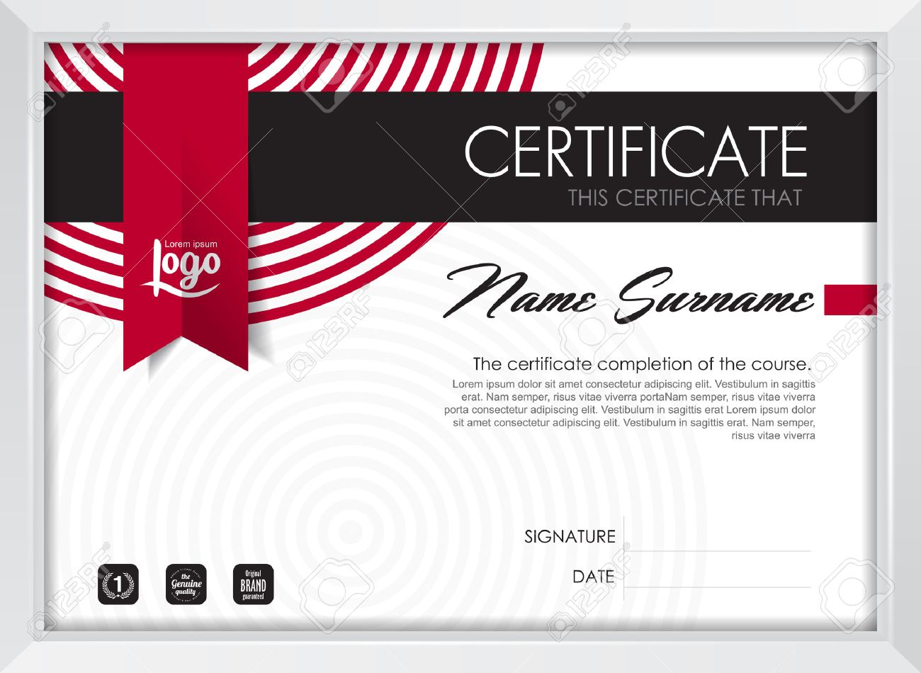 Certificate Template With Clean And Modern Pattern, Qualification ...
