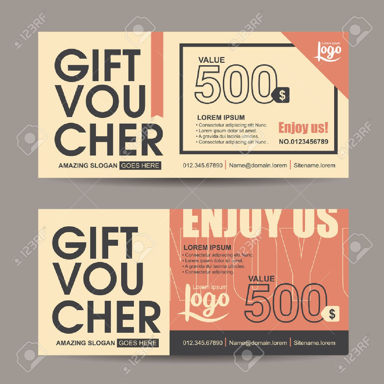 gift voucher template with vintage pattern retro gift voucher
