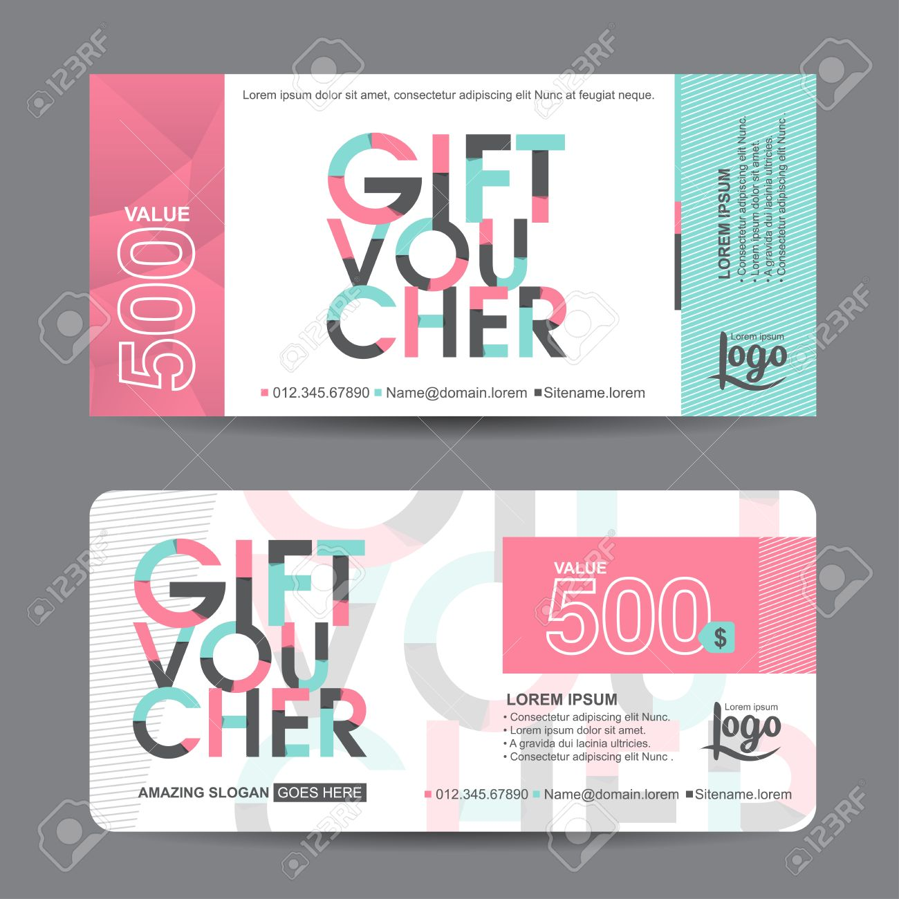 Gift voucher template with colorful patterncute gift voucher gift voucher template with colorful patterncute gift voucher certificate coupon design template collection yadclub Choice Image