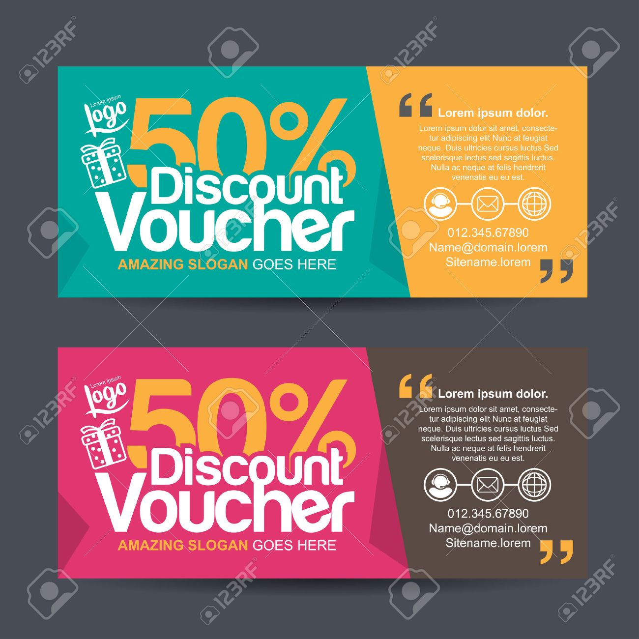 gift voucher template with colorful patterncute gift voucher certificate coupon design template collection