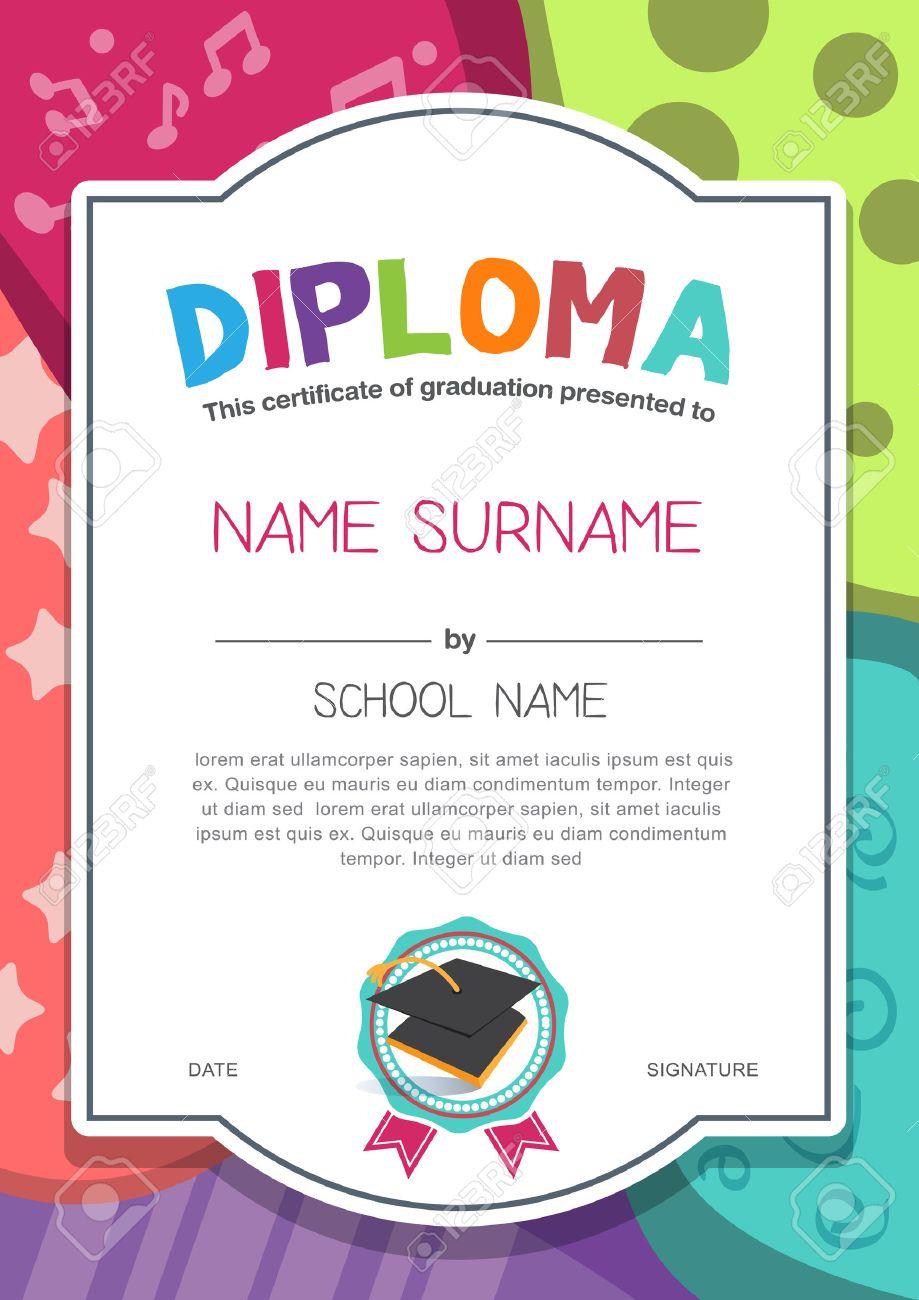 Preschool Kids Diploma Certificate Background Design Template Stock Vector    46178877