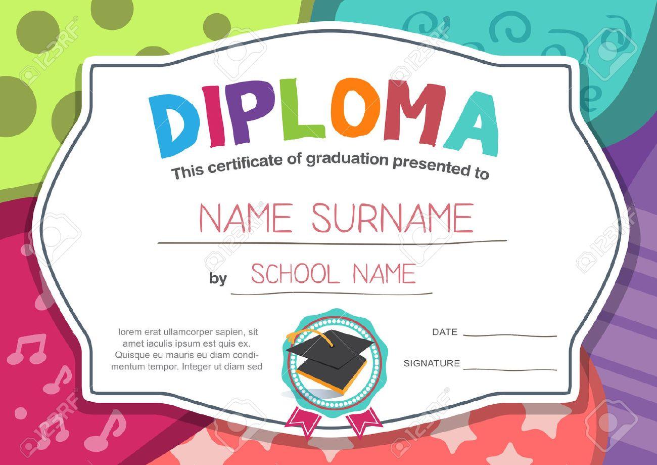 Preschool graduation certificate template eliolera preschool kids diploma certificate background design template yadclub Choice Image