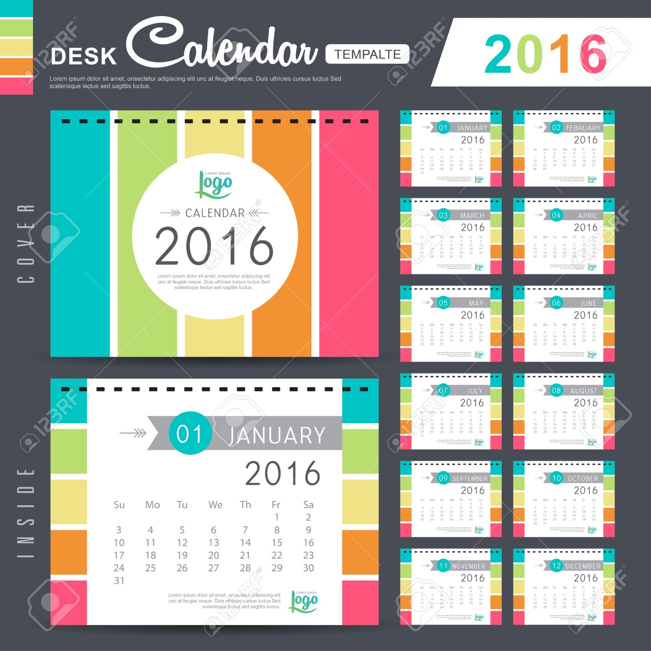 desk calendar 2016 vector design template with abstract pattern