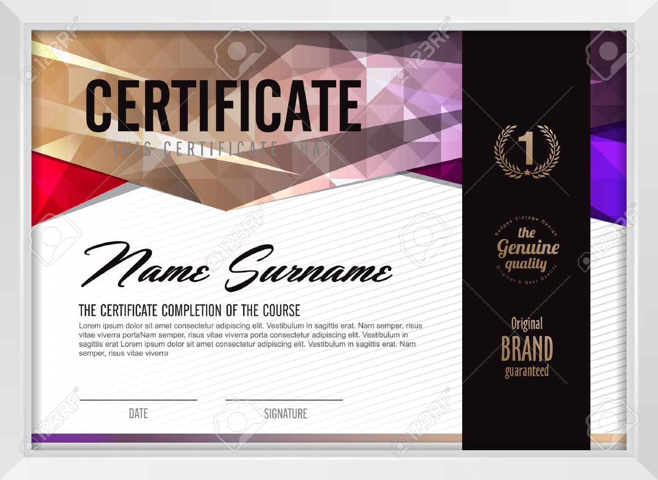 Stock certificate example account ledger template template service stock certificate template powerpoint image collections 46179357 certificate template with clean and modern pattern vector illustration yadclub Choice Image
