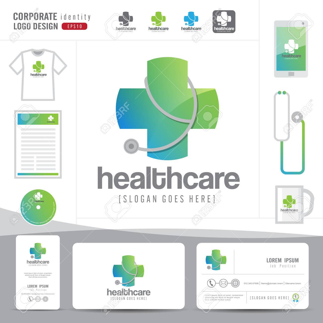 Logo design medical healthcare or hospital and business card banco de imagens logo design medical healthcare or hospital and business card template with clean and modern flat patterncorporate identityvector reheart Gallery