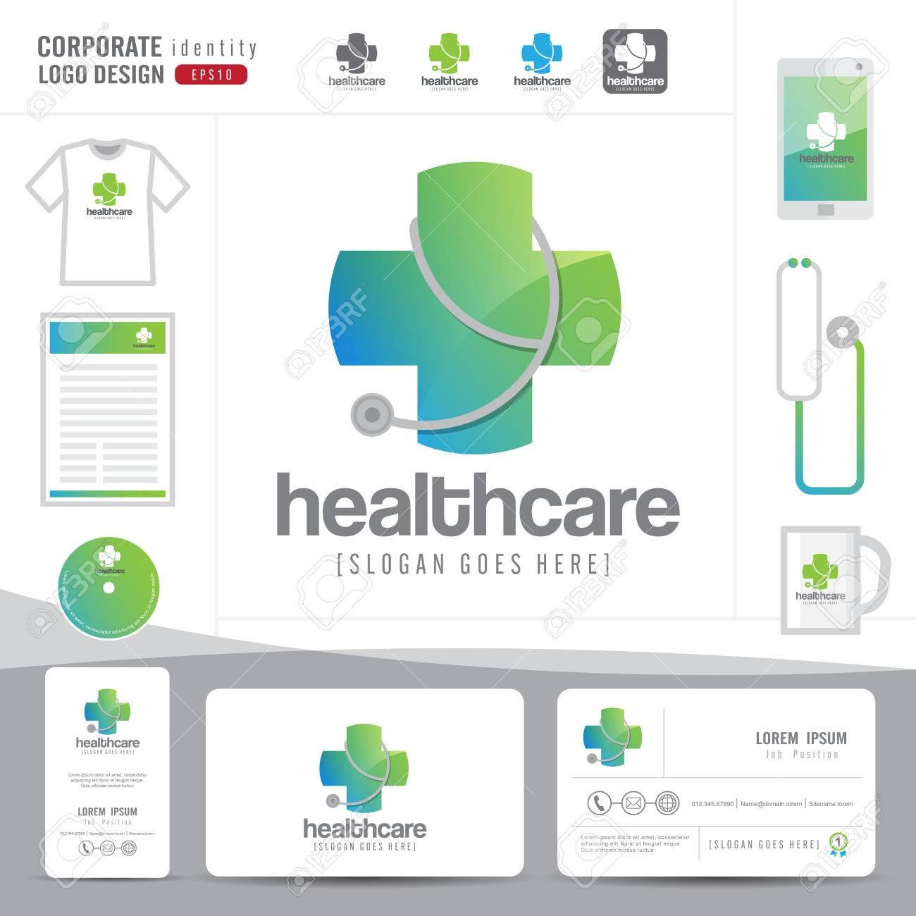logo design medical healthcare or hospital and business card