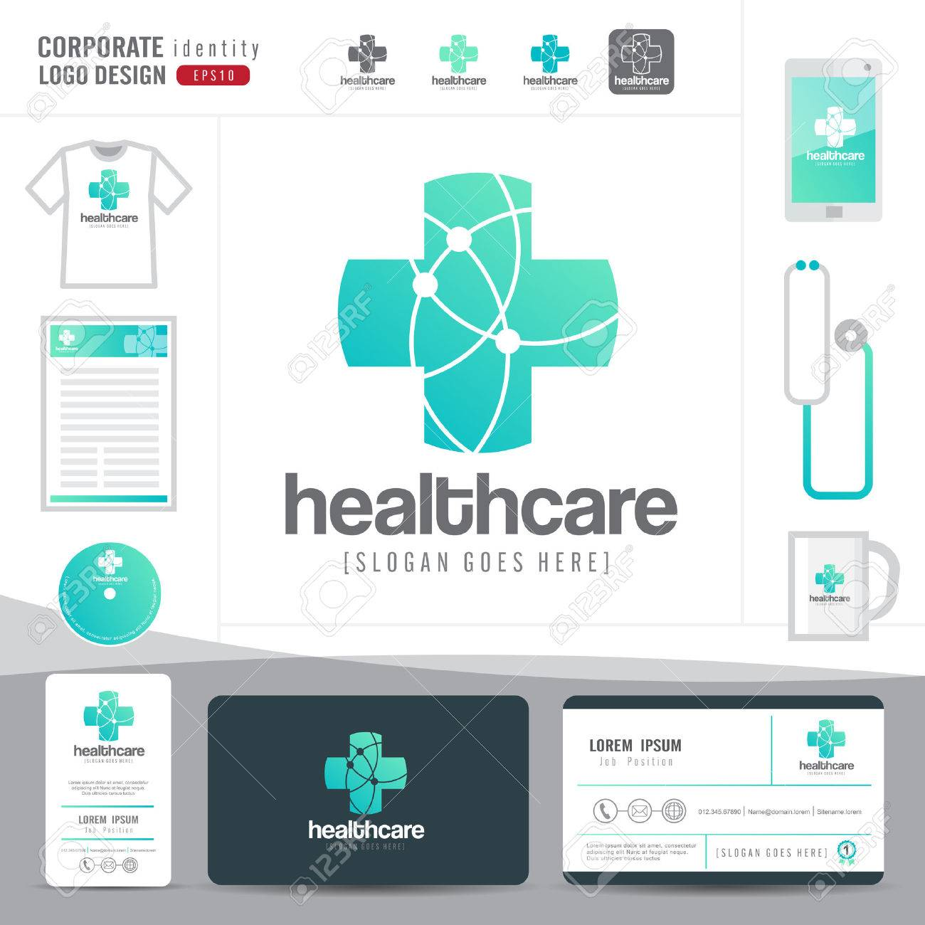 Logo design medical healthcare or hospital and business card logo design medical healthcare or hospital and business card template with clean and modern flat pattern colourmoves Images