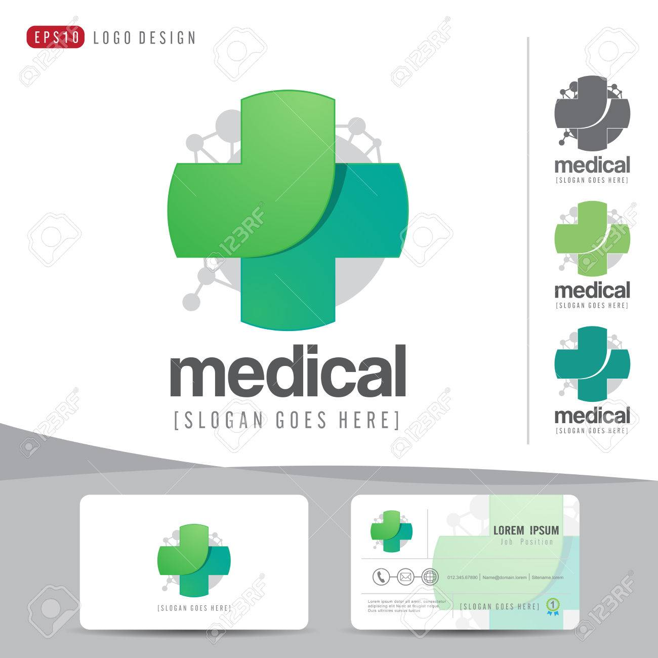 Logo design medical healthcare or hospital and business card logo design medical healthcare or hospital and business card template with clean and modern flat pattern flashek Choice Image