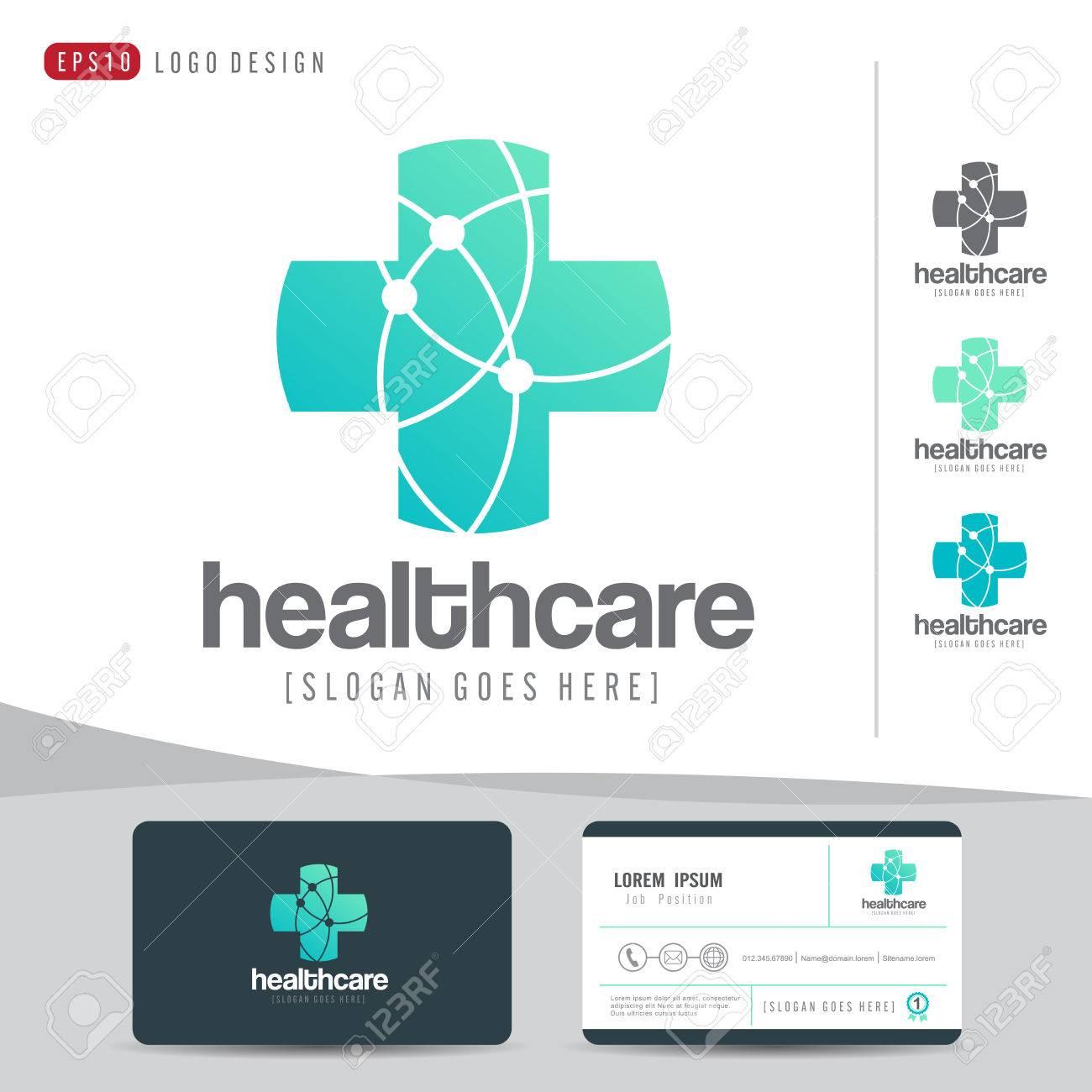 Logo design medical healthcare or hospital and business card imagens logo design medical healthcare or hospital and business card template clean and modern patternvector illustrator reheart Images