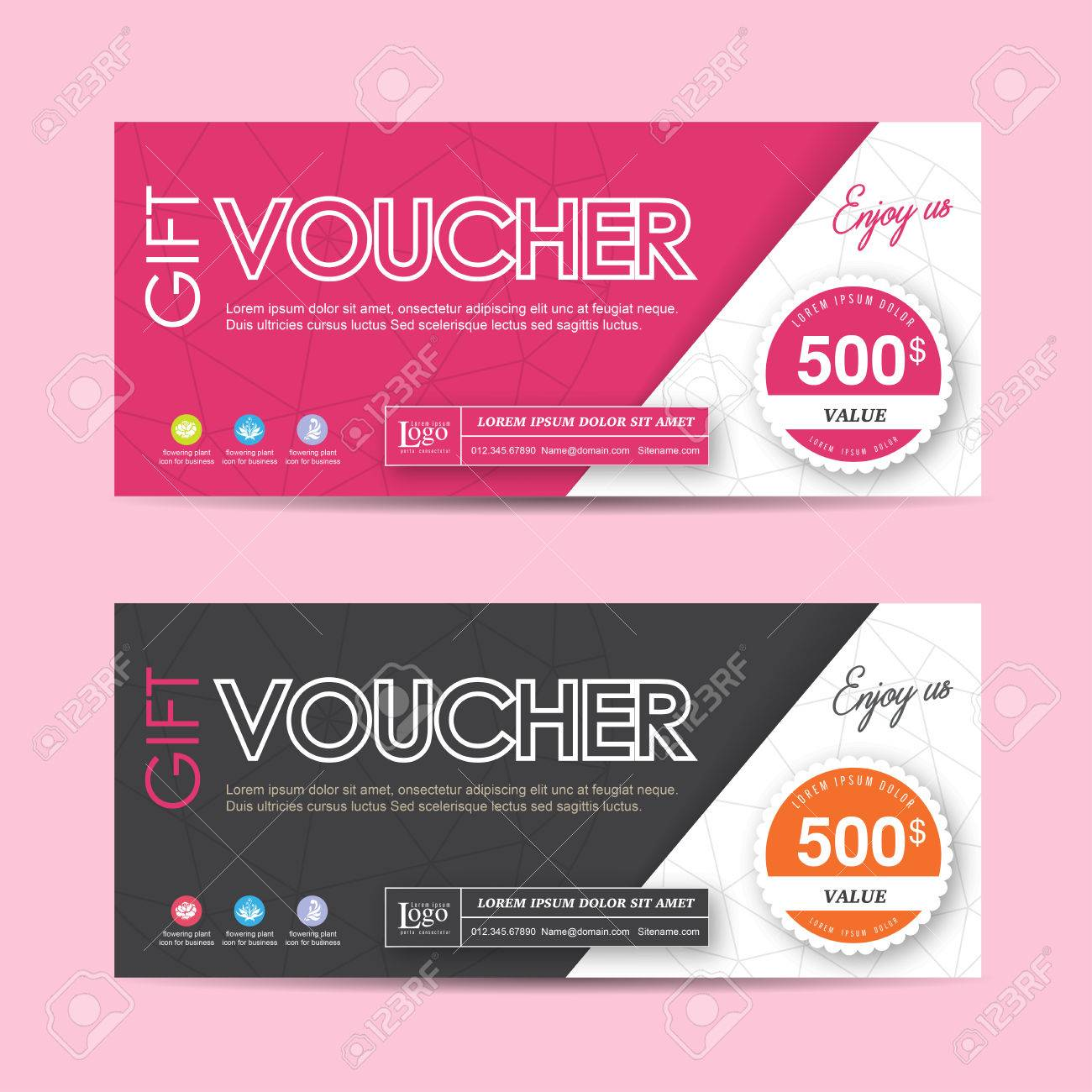 Gift Voucher Template With Colorful Pattern,Vector Illustration ...