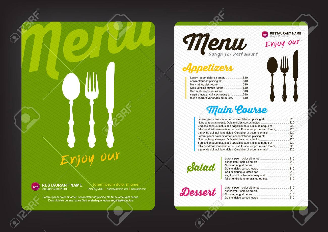 Plantilla De Diseño De Menú Con El Patrón De Colores, Restaurante ...