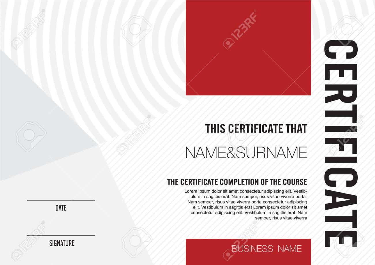 Plantilla De Certificado Con El Patrón Limpio Y Moderno, Ilustración ...