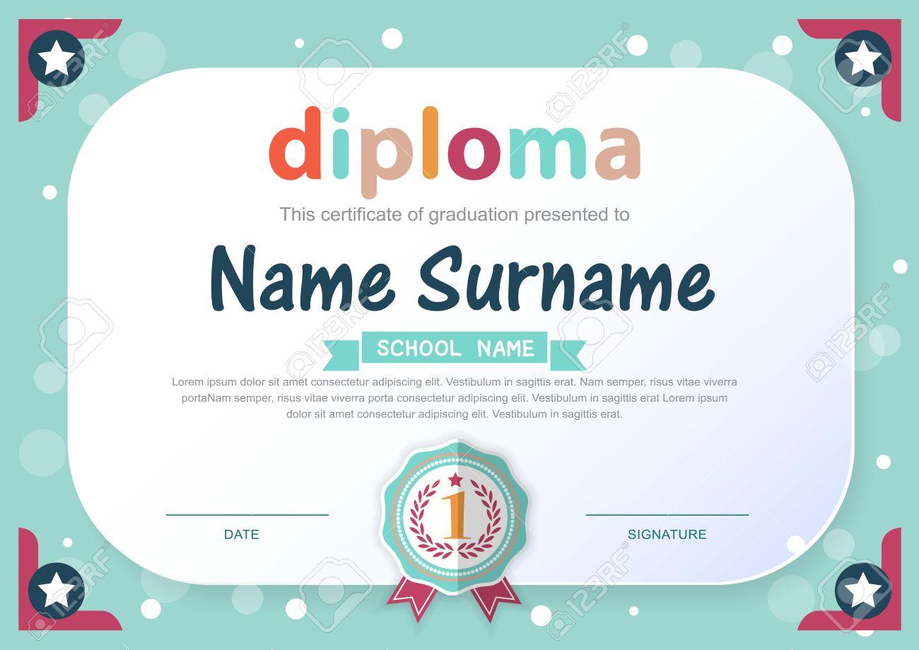 Preschool kids diploma certificate background design template preschool kids diploma certificate background design template stock vector 49032256 yelopaper Images