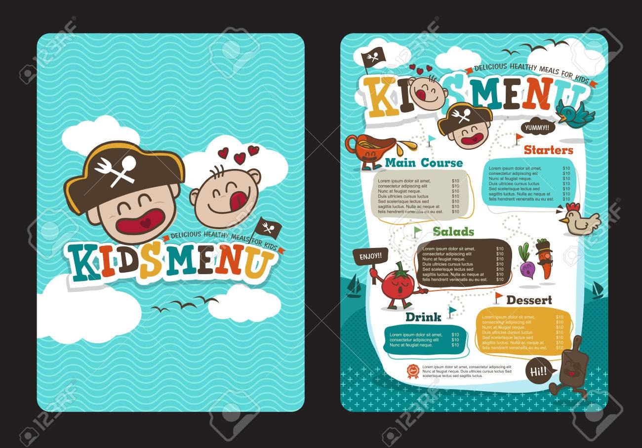 Cute colorful kids meal menu template with pirate cartoon - 51361663