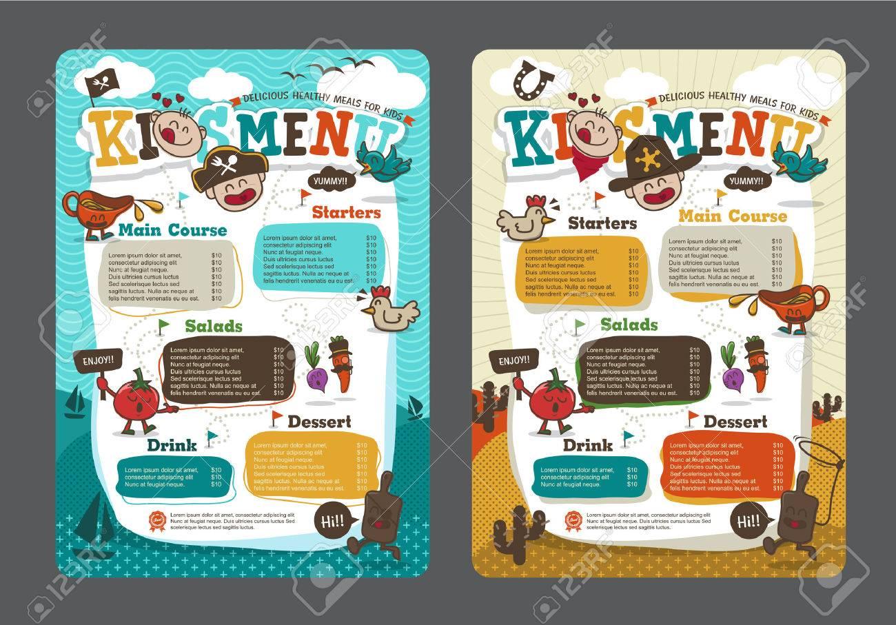 Cute colorful kids meal menu template with pirate cartoon and cowboy cartoon - 51361662