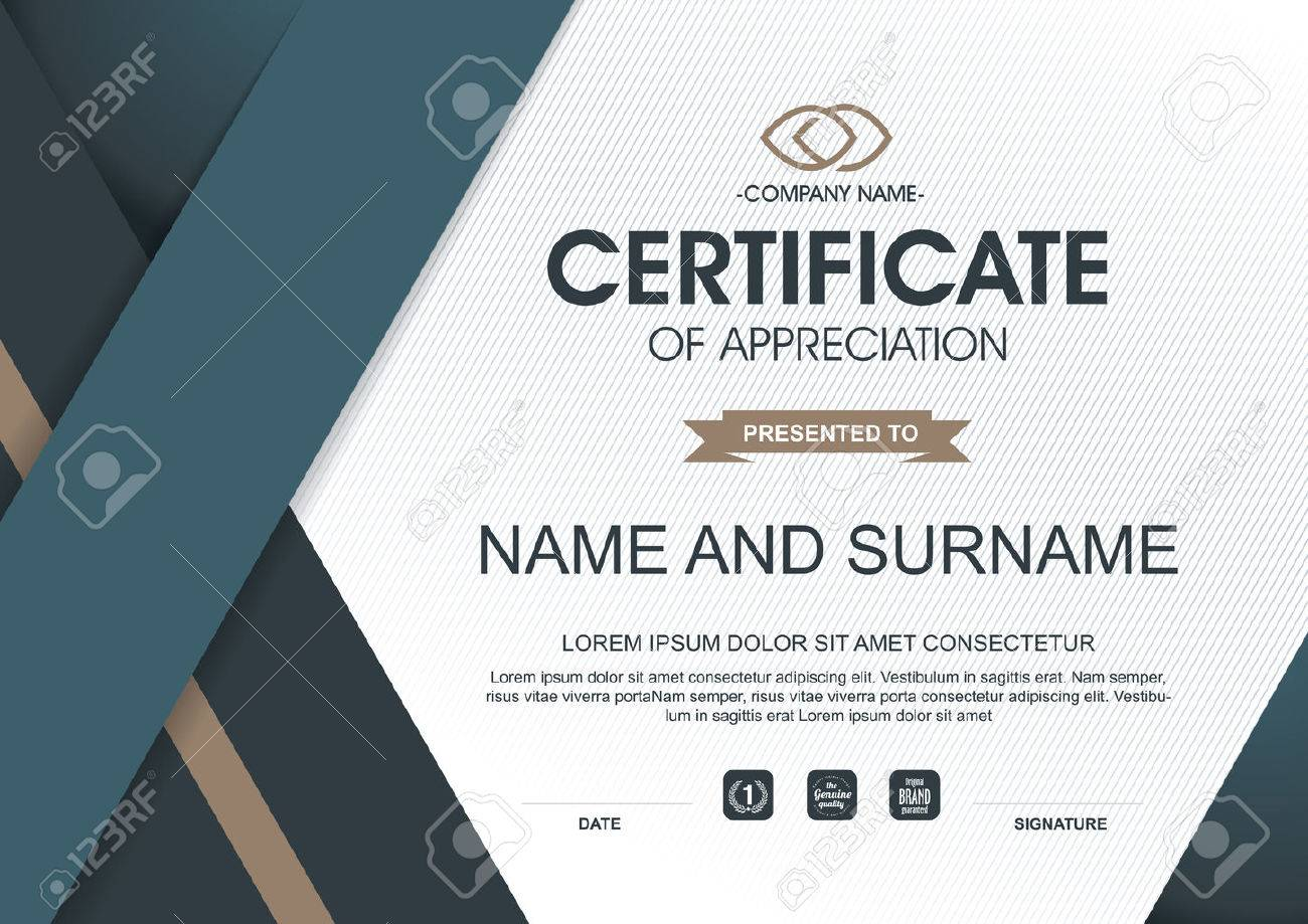 Certificate Template With Clean And Modern Pattern,Vector ...