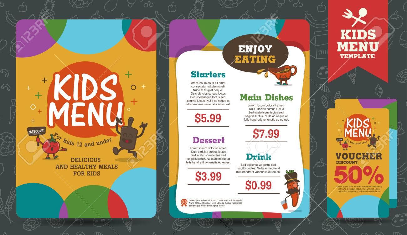 Cute Colorful Kids Meal Menu Vector Template Stock