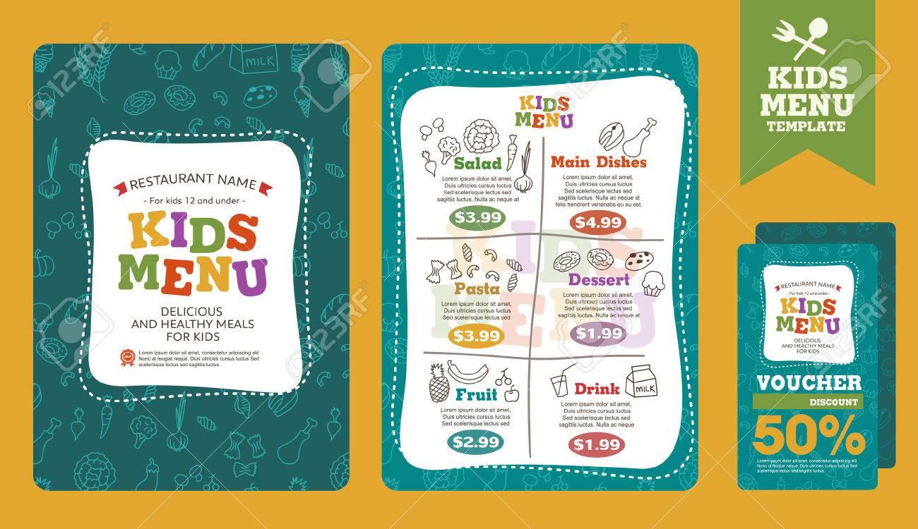 Cute colorful kids meal menu vector template - 51625092