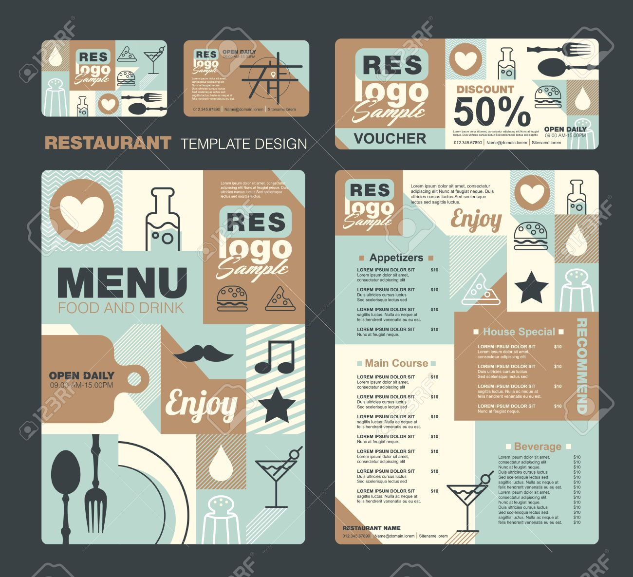 Big Set Of Restaurant Et Caf Menu Conception Bon Carte De Visite