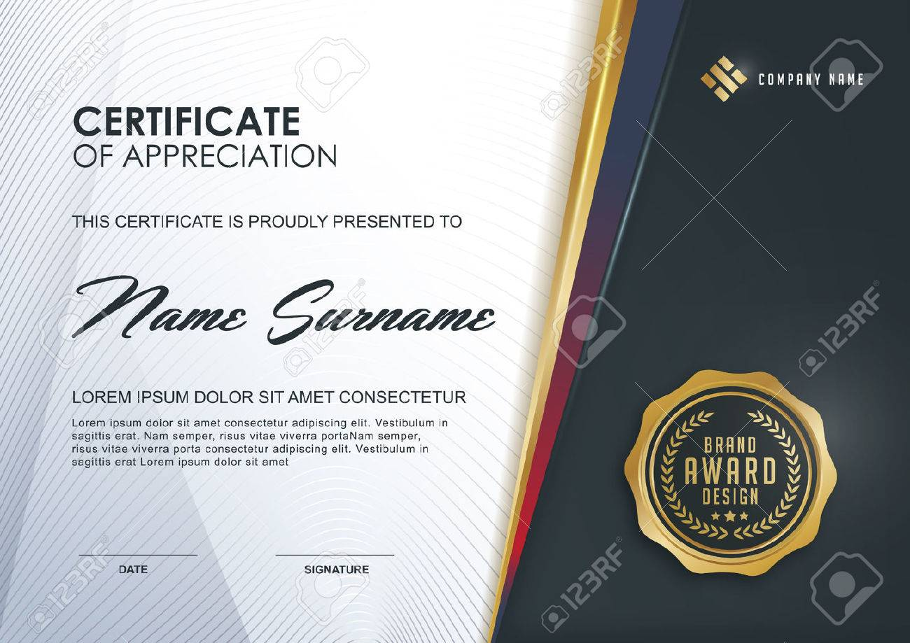 Certificate Template With Luxury And Modern Pattern,xA;Qualification ...