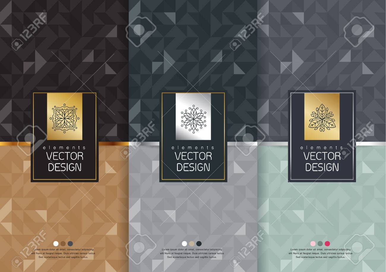 Vector set of templates packaging, labels and frames for packaging for luxury products in trendy linear style, banner, poster, identity, branding, logo icon, seamless pattern in trendy linear style, black, ,collection packaging design,vector illustration - 53837623