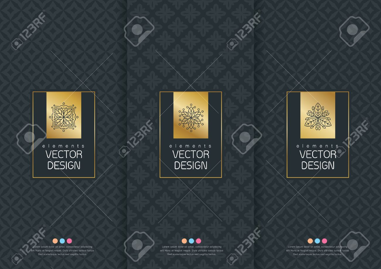 Vector set of templates packaging, labels and frames for packaging for luxury products in trendy linear style, banner, poster, identity, branding, logo icon, seamless pattern in trendy linear style, black, ,collection packaging design,vector illustration - 53837627