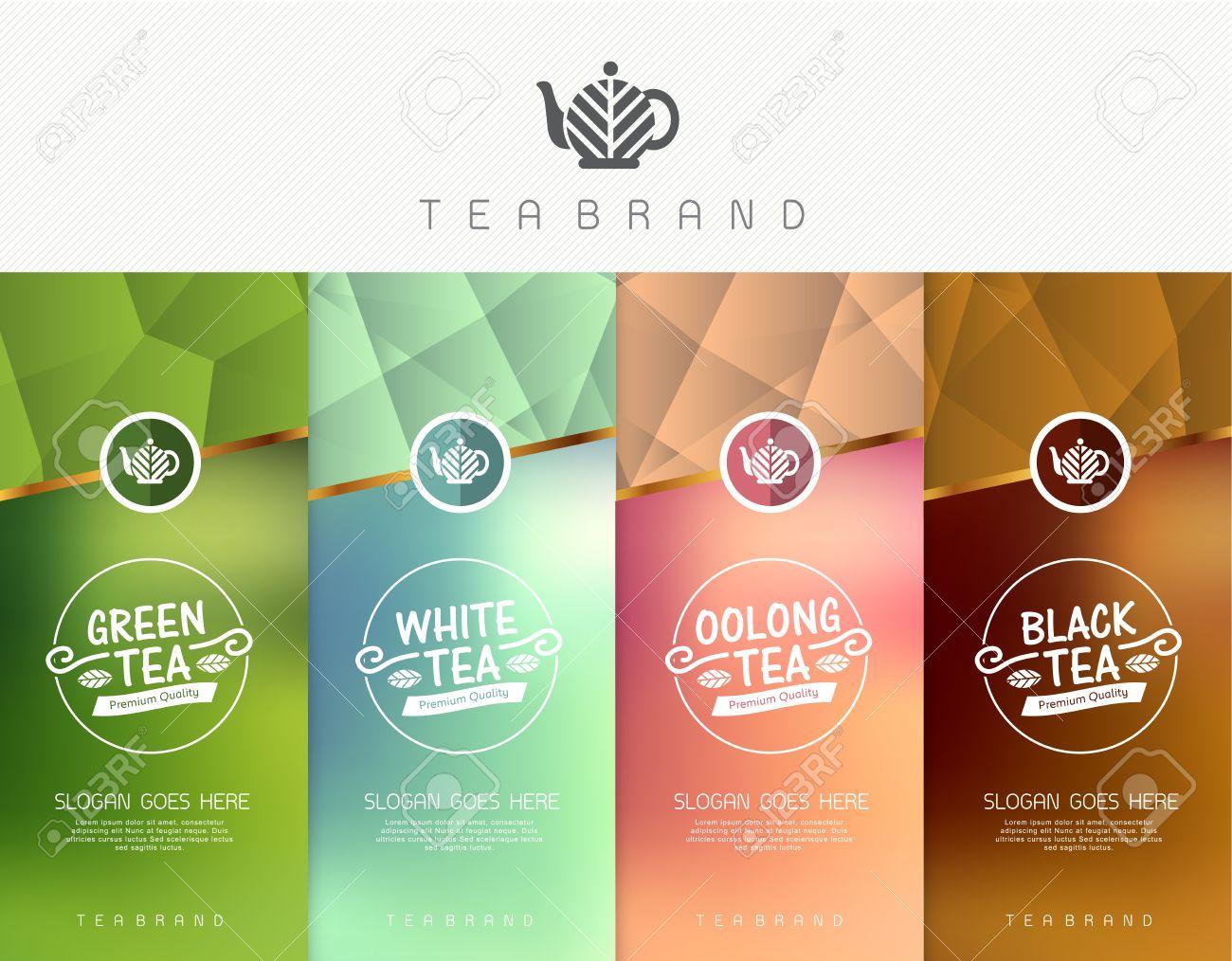 Vector set of templates packaging tea, logo, label, banner, poster, identity, branding. Stylish design for black tea - green tea - white tea - oolong tea - 53837648