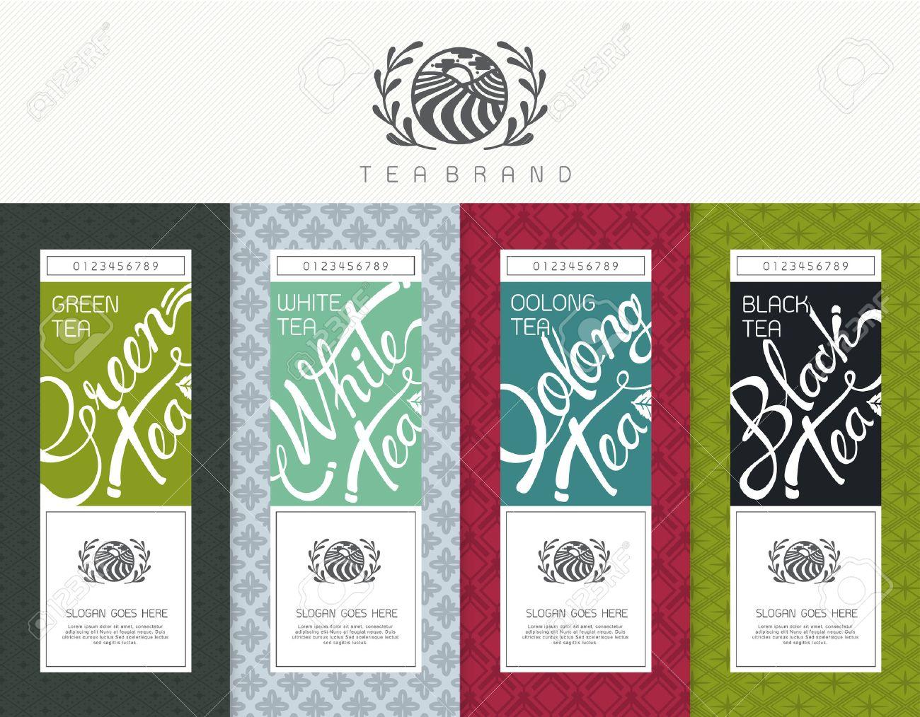 Vector set of templates packaging tea, label, banner, poster, identity, branding. Stylish design for black tea - green tea - white tea - oolong tea - 53688653