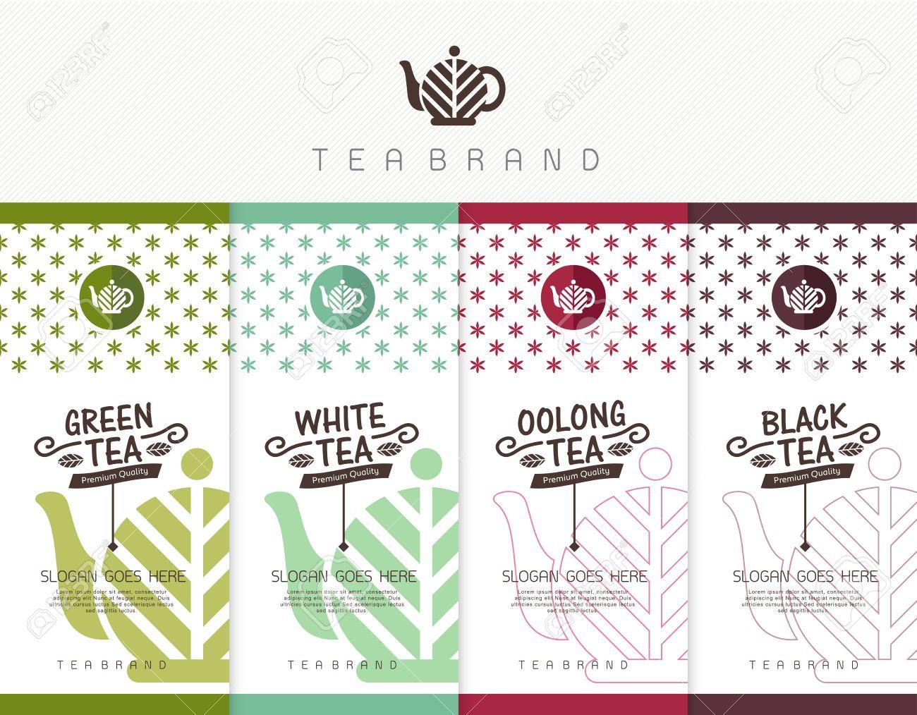 Vector Reihe Von Vorlagen Verpackung Tee, Logo, Etikett, Banner ...