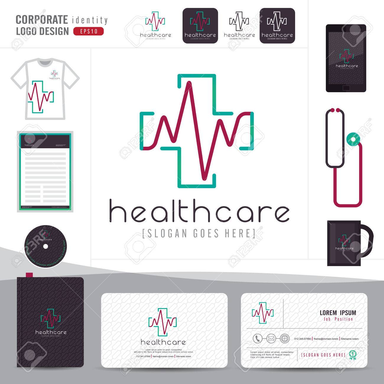 Design medical healthcare or hospital and business card template design medical healthcare or hospital and business card template with clean and modern flat pattern reheart Images